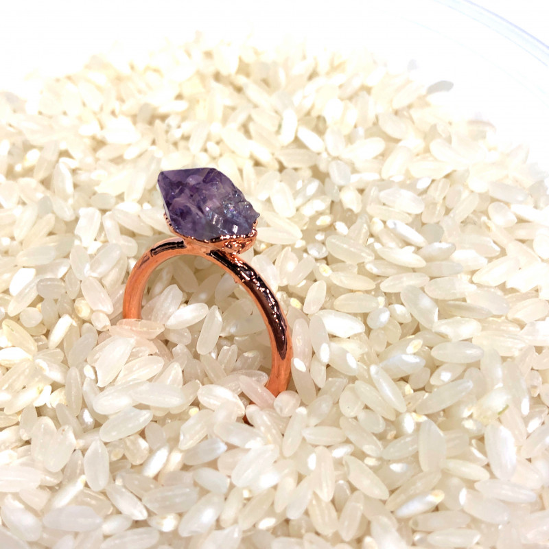 Amethyst Raw Beautiful terminated Gemstone Copper Ring BR 394