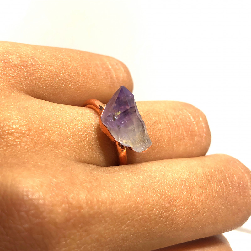 Amethyst Raw Beautiful terminated Gemstone Copper Ring BR 395