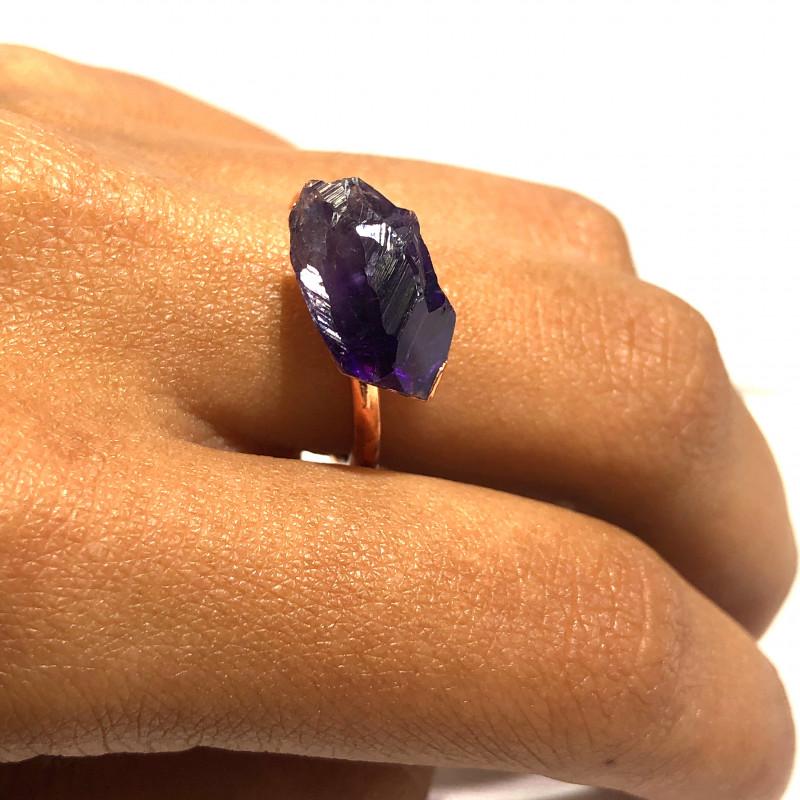 Amethyst Raw Beautiful terminated Gemstone Copper Ring BR 397