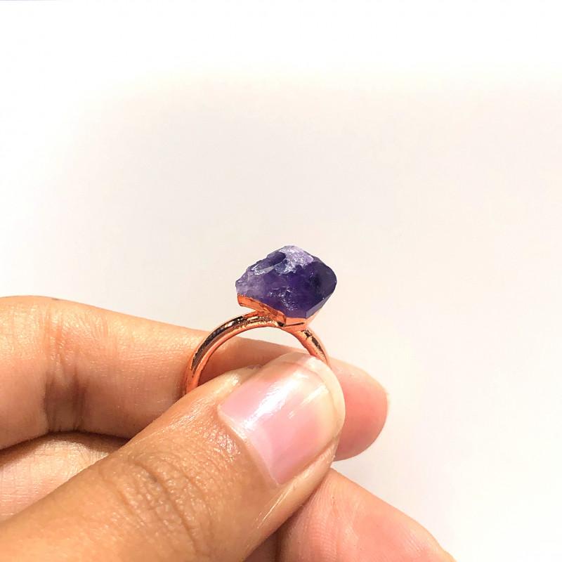Amethyst Raw Beautiful terminated Gemstone Copper Ring BR 398