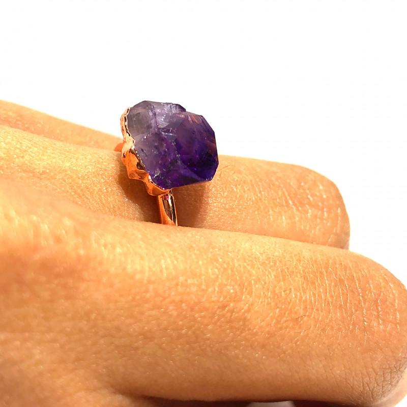 Amethyst Raw Beautiful terminated Gemstone Copper Ring BR 402
