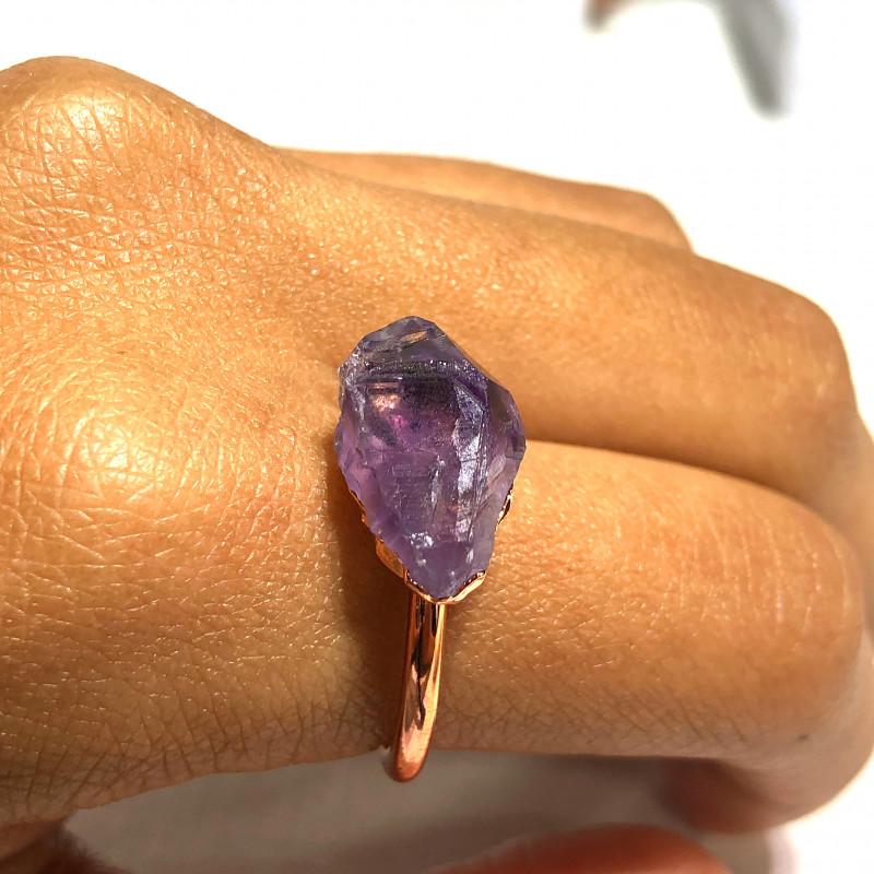 Amethyst Raw Beautiful terminated Gemstone Copper Ring BR 403