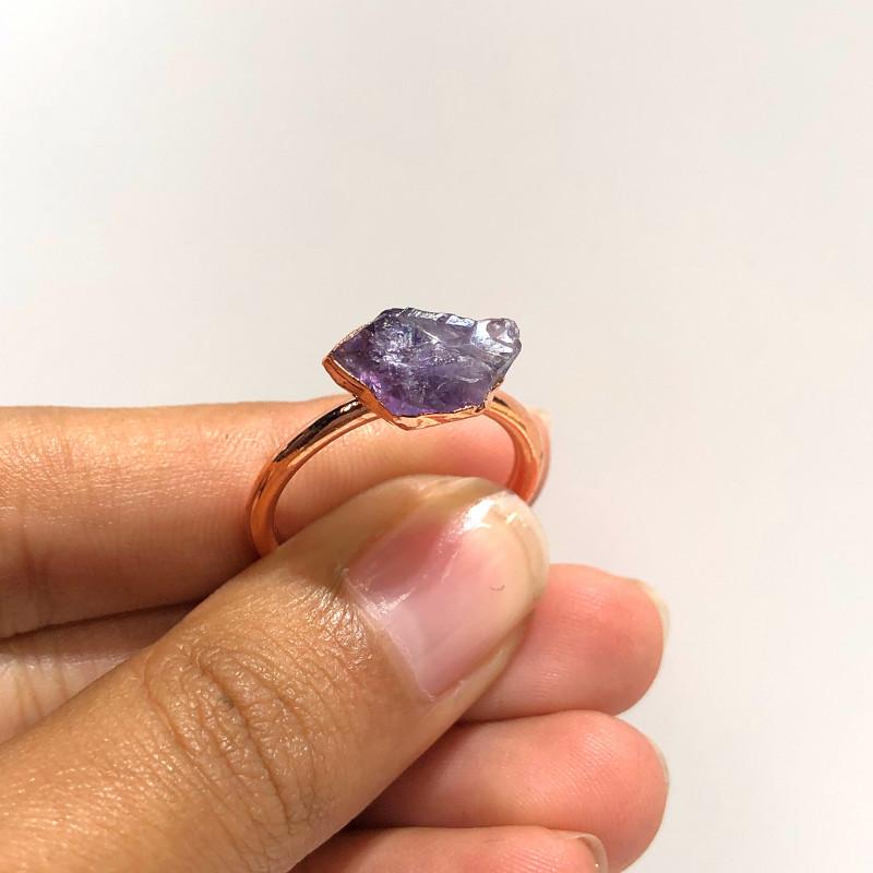 Amethyst Raw Beautiful terminated Gemstone Copper Ring BR 405