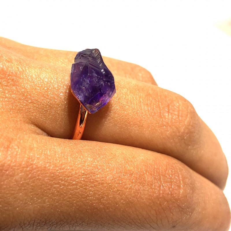 Amethyst Raw Beautiful terminated Gemstone Copper Ring BR 407