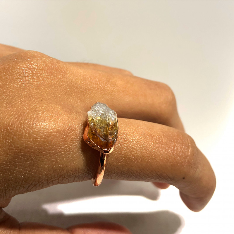 Citrine Raw Beautiful terminated Gemstone Copper Ring BR 412