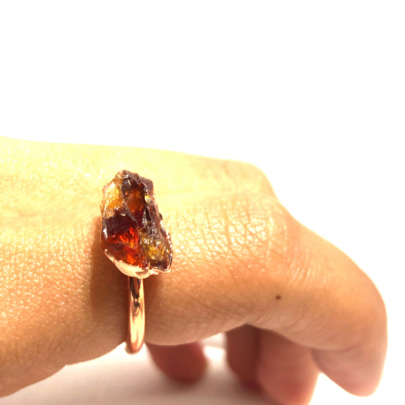 Citrine Raw Beautiful terminated Gemstone Copper Ring BR 415