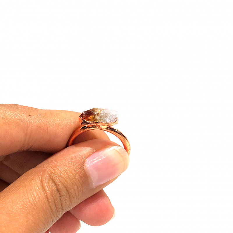 Citrine Raw Beautiful terminated Gemstone Copper Ring BR 417