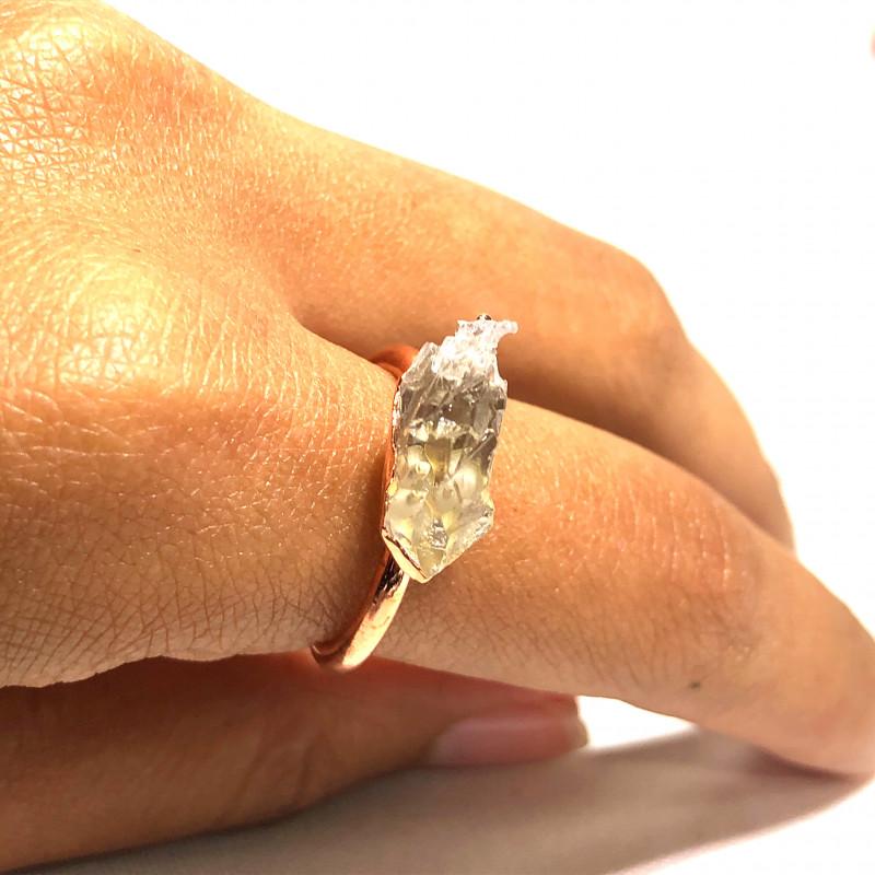 Crystal Raw Beautiful terminated Gemstone Copper Ring BR 420