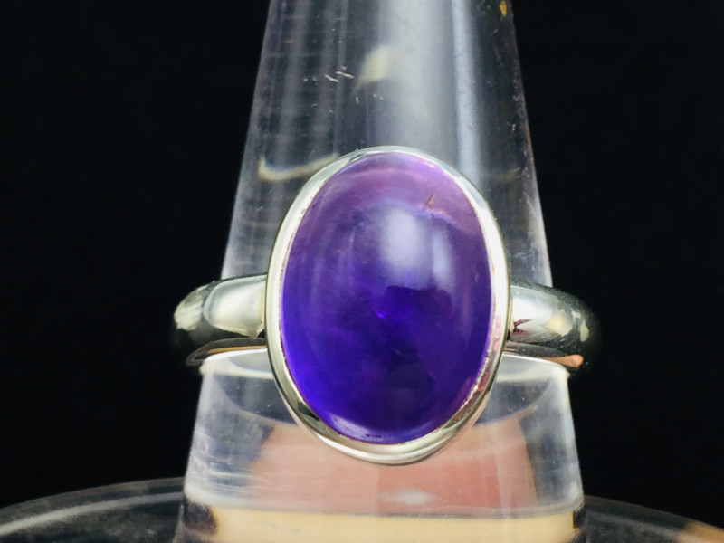Natural Amethyst 7.50 cts transparent cabochon Handmade 925 Sterling silver