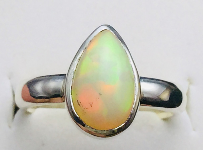 2.40 cts Natural Firey Ethiopian OpalHandmade 925 Sterling silver ring