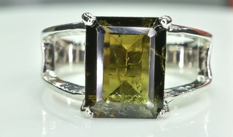 21.69 Crt Tourmaline Natural 925 Silver Ring Size