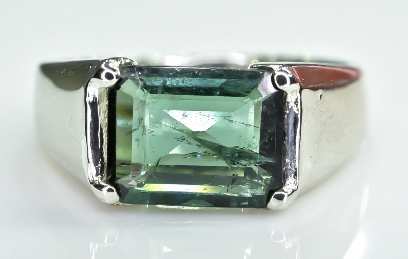 21.07 Crt Natural Tourmaline 925 Stearling  Silver Ring
