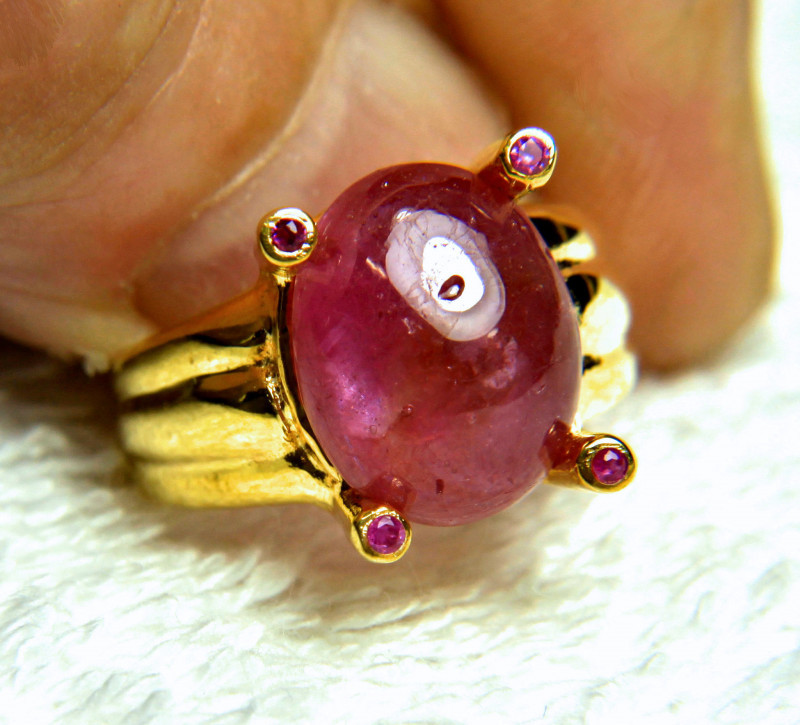 31.8 Tcw. Ruby Ring Gold Plated Silver - Gorgeous