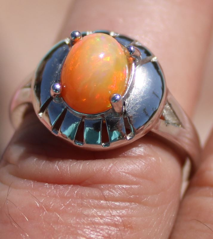 Orange Opal 1.62ct Solid 925 Sterling Silver Ring,Rhodium Finish