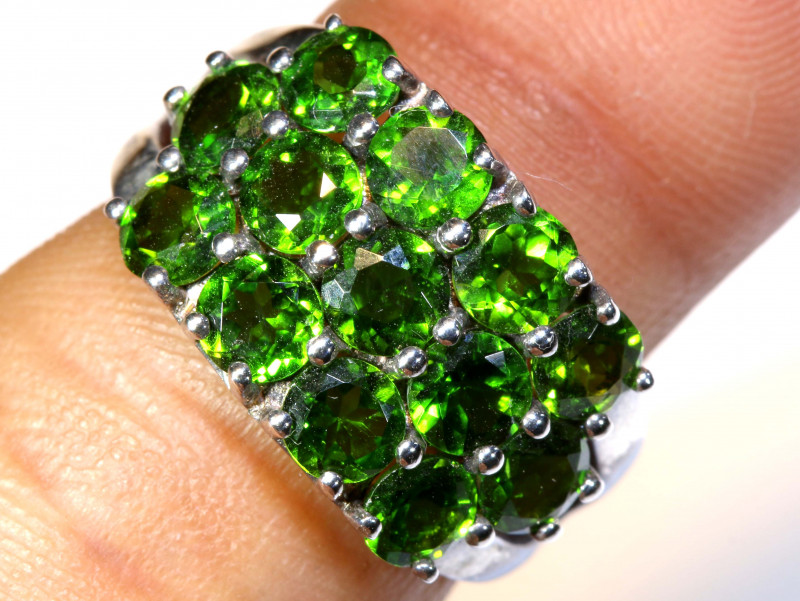 18.80 CTS DIOPSIDE SILVER RING  SIZE- 5 RJ-704