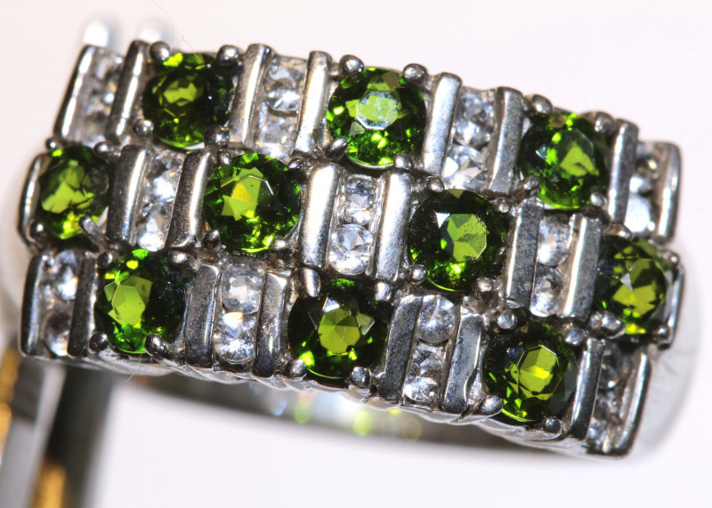 25.50 CTS DIOPSIDE SILVER RING  SIZE- 10.50  RJ-705