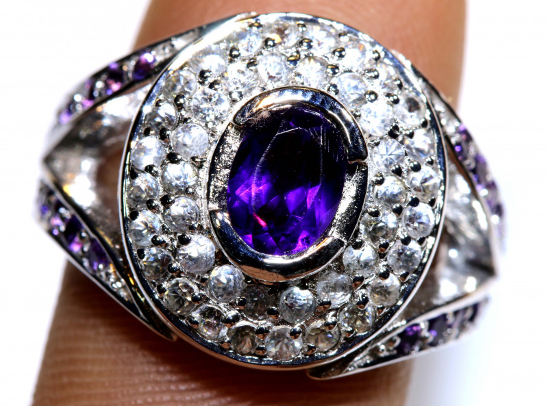 30.65  CTS AMETHYST SILVER RING   RJ-710