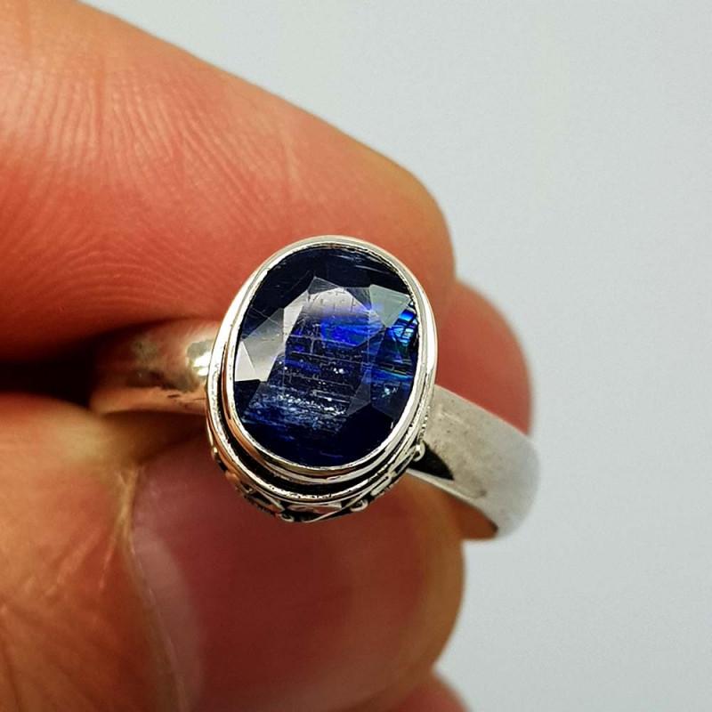 Natural Blue Kyanite 24.85 Carats 925 Silver Ring