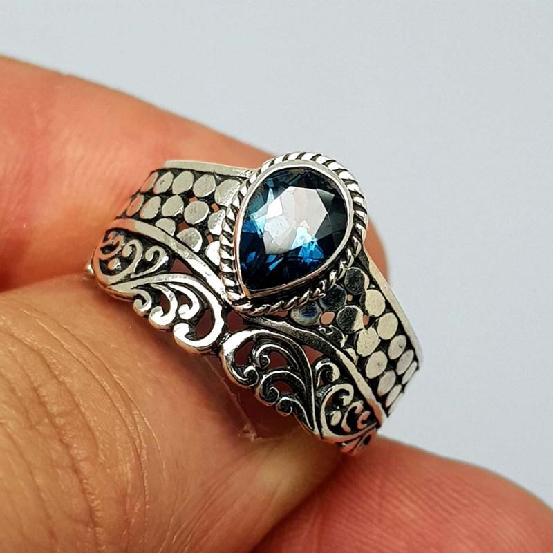Natural London Blue Topaz 22.45 Carats 925 Silver Ring