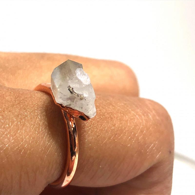 Crystal Raw Beautiful terminated Gemstone Copper Ring BR 426