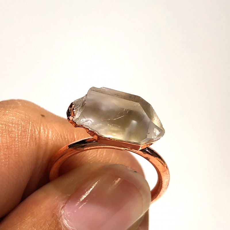 Crystal Raw Beautiful terminated Gemstone Copper Ring BR 427