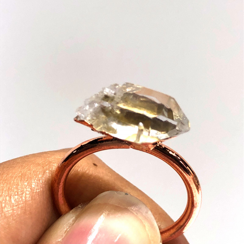 Crystal Raw Beautiful terminated Gemstone Copper Ring BR 428