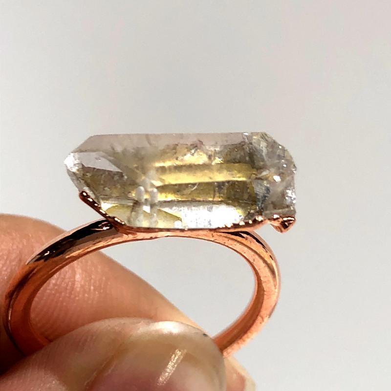 Crystal Raw Beautiful terminated Gemstone Copper Ring BR 429