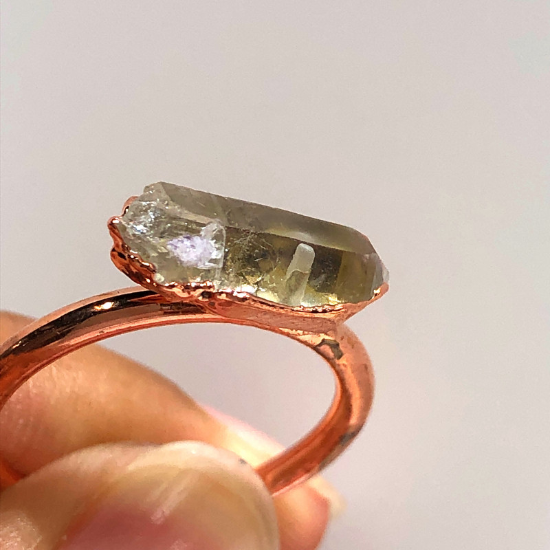 Crystal Raw Beautiful terminated Gemstone Copper Ring BR 431