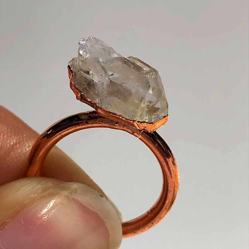 Crystal Raw Beautiful terminated Gemstone Copper Ring BR 432