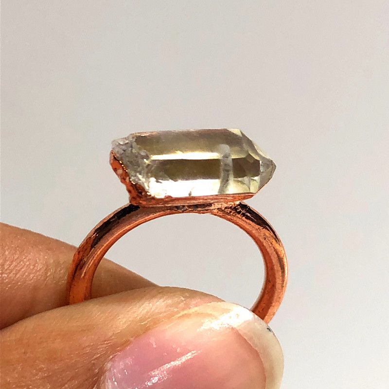 Crystal Raw Beautiful terminated Gemstone Copper Ring BR 433