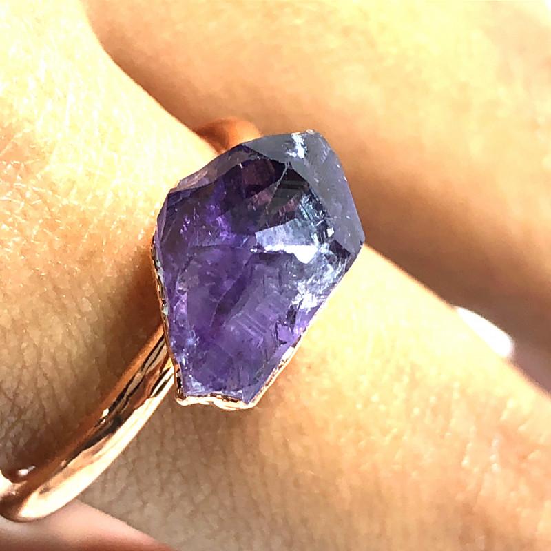 Amethyst Raw Beautiful terminated Gemstone Copper Ring BR 434