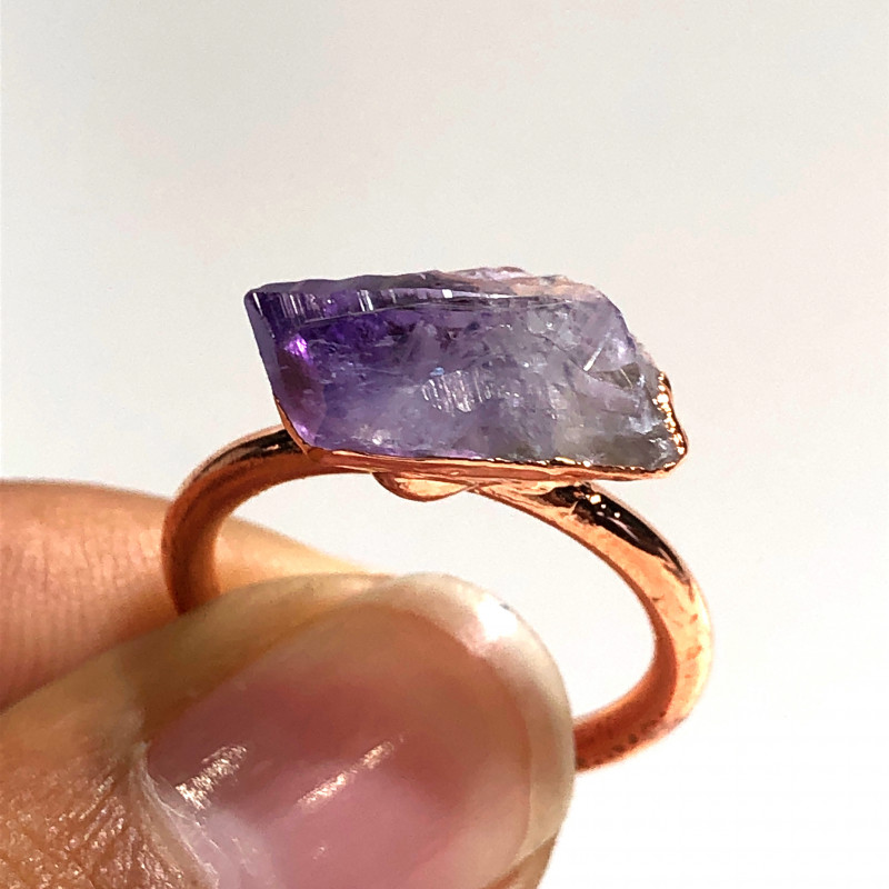 Amethyst Raw Beautiful terminated Gemstone Copper Ring BR 435