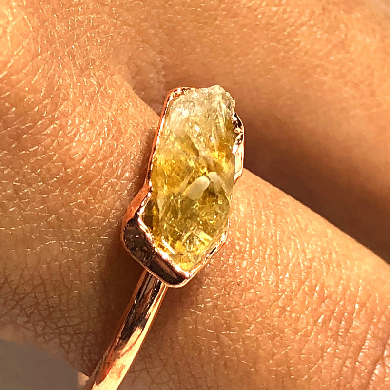 Citrine Raw Beautiful terminated Gemstone Copper Ring BR 436