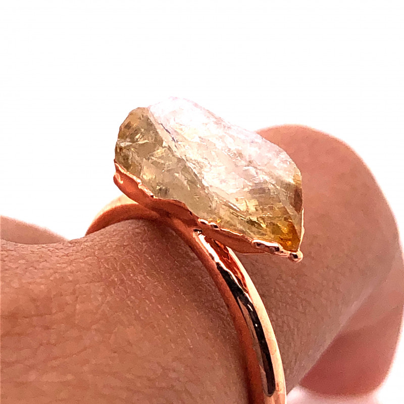 Citrine Raw Beautiful terminated Gemstone Copper Ring BR 440