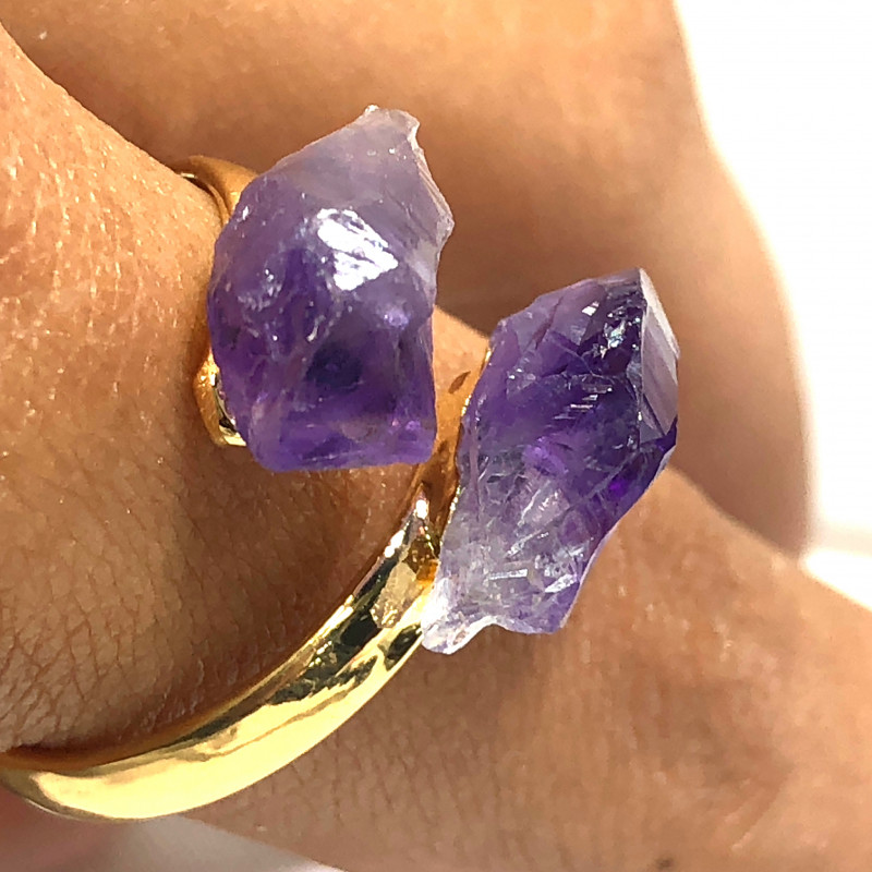 Amethyst Double Terminated Points Gemstone Ring BR 449