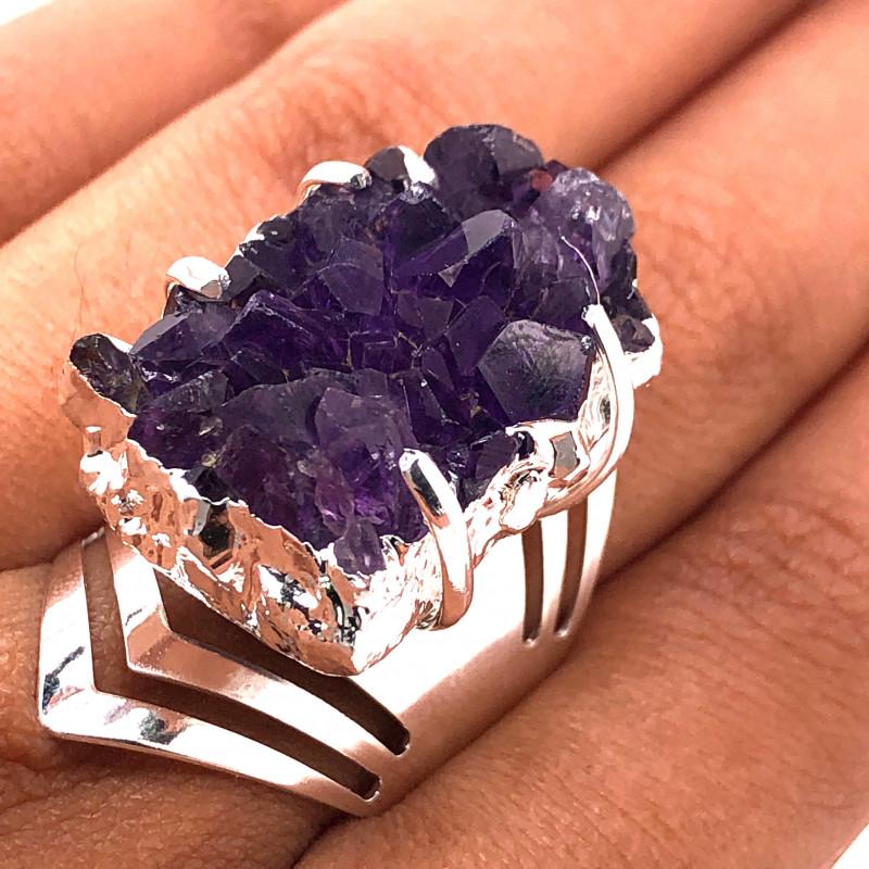 Raw High Grade Amethyst Druzy Silver Ring BR 453