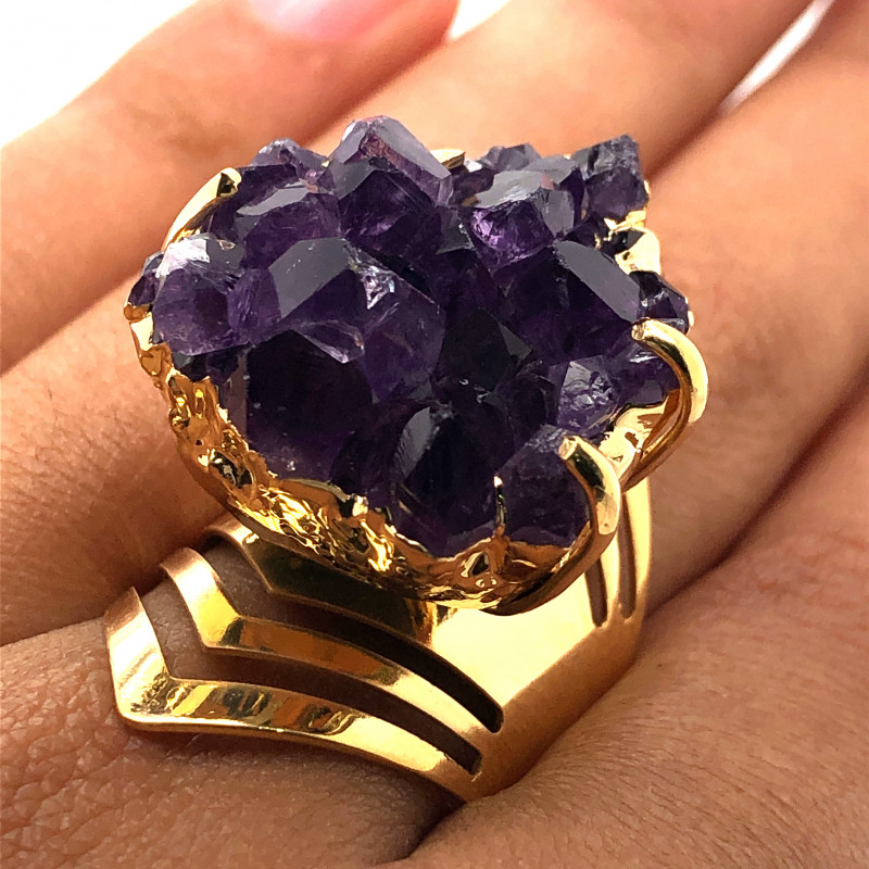 Raw High Grade Amethyst Druzy Gold Ring BR 454