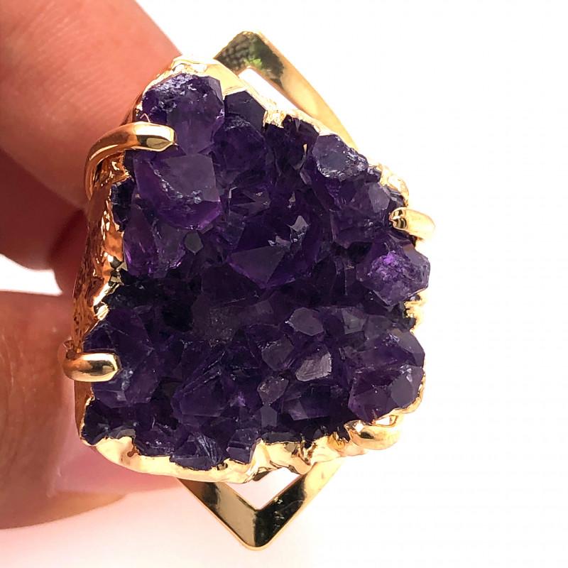 Raw High Grade Amethyst Druzy Golden Ring BR 466