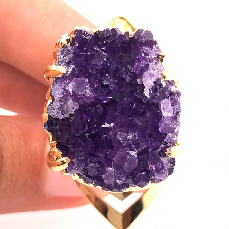 Raw High Grade Amethyst Druzy Golden Ring BR 467