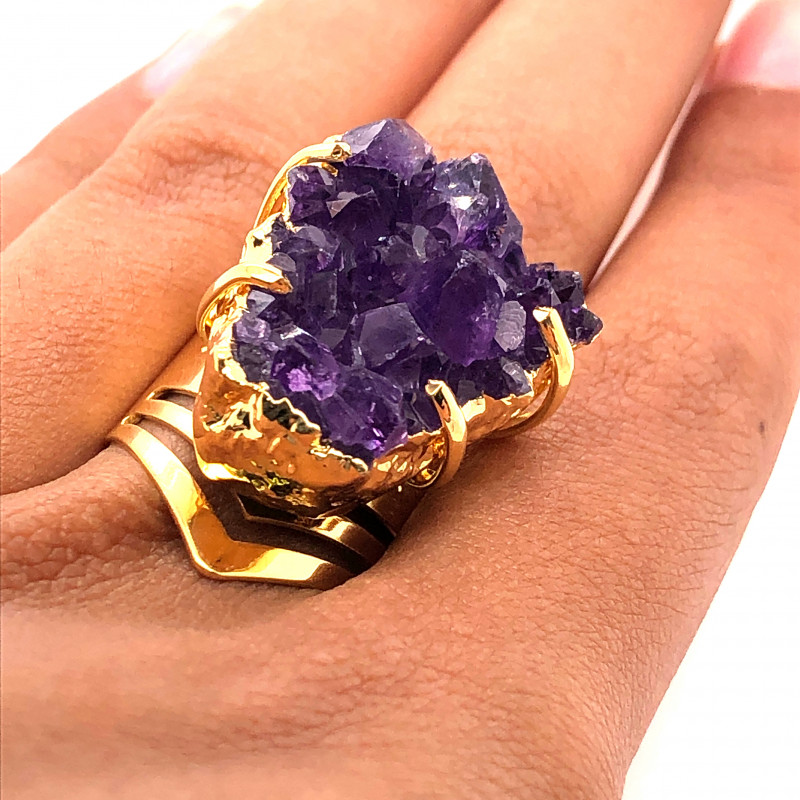 Raw High Grade Amethyst Druzy Golden Ring BR 469