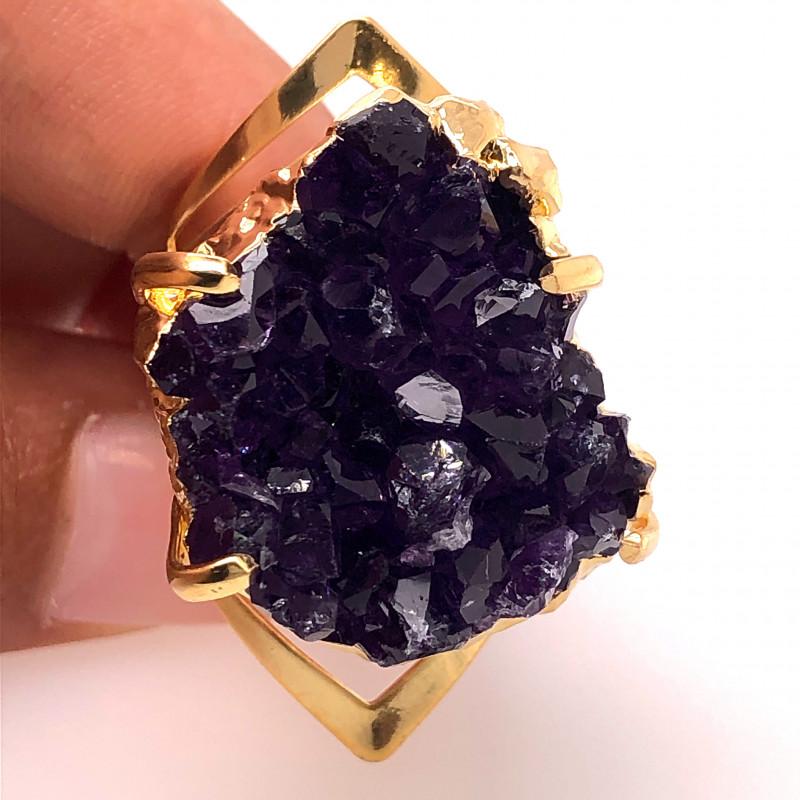 Raw High Grade Amethyst Druzy Golden Ring BR 472