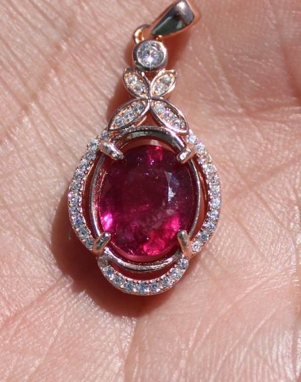 Rubellite 5.36ct Rose Gold Finish Solid 925 Sterling Silver Pendant