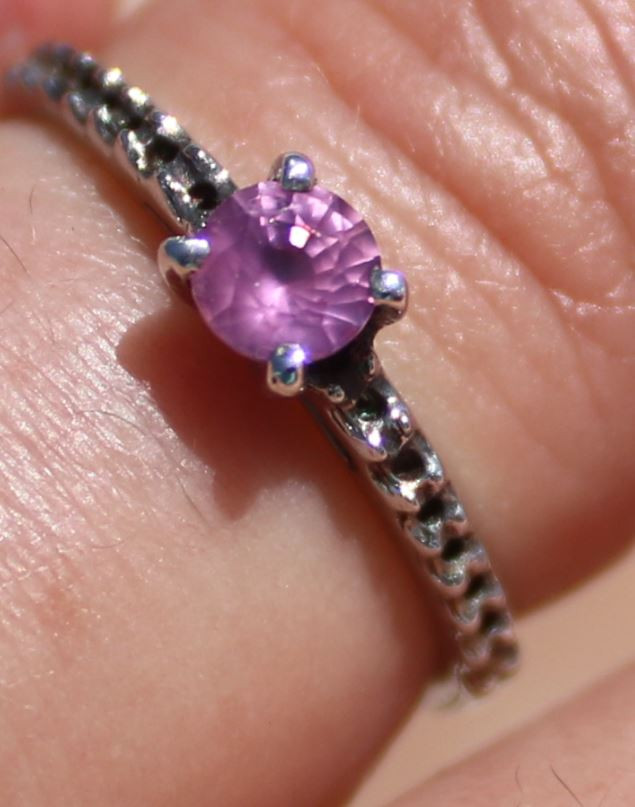 Pink Sapphire .37ct, Solid 925 Sterling Silver, Rhodium Finish, Solitaire R