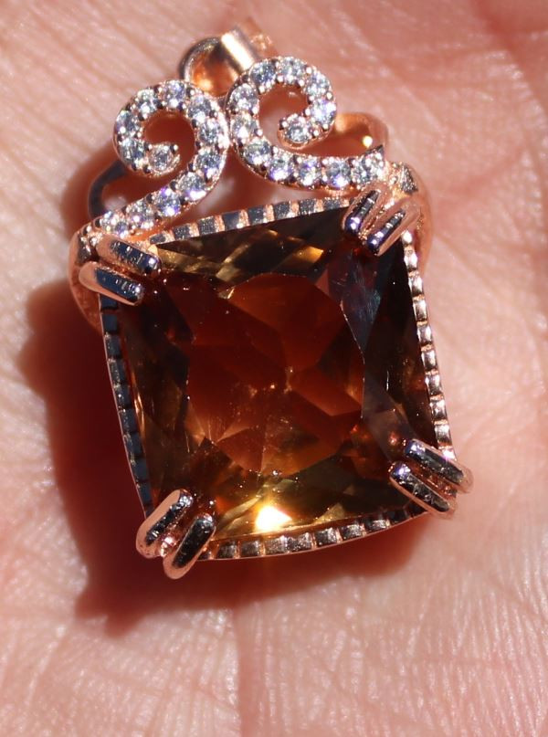Precious Topaz 13.60ct Rose Gold Finish Solid 925 Sterling Silver Pendant