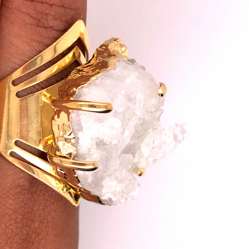 Raw High Grade Crystal Terminated Point Gold Ring BR 491