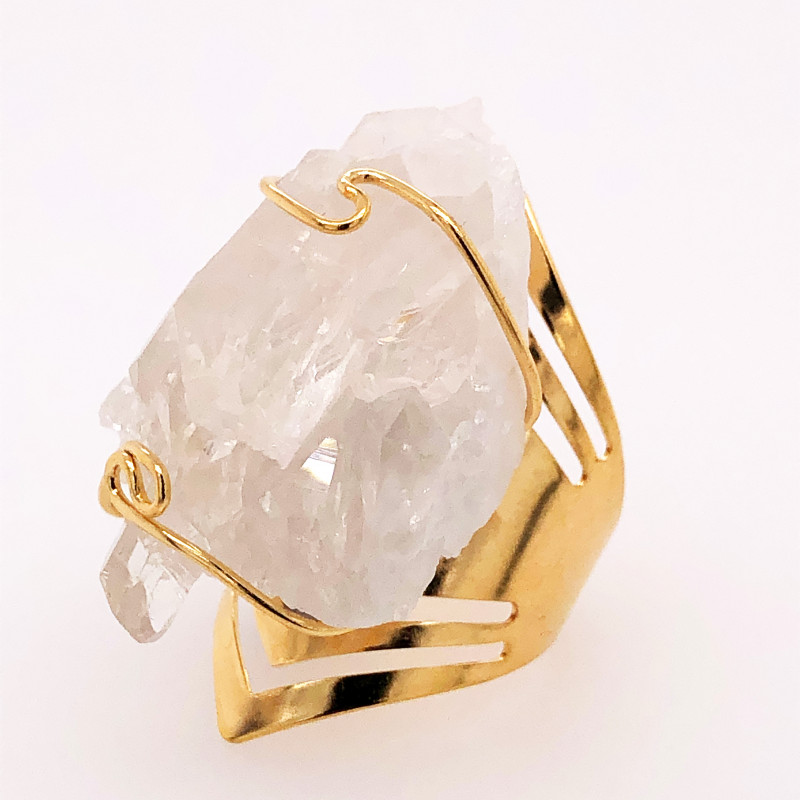 Wire wrapped Crystal Terminated Point Golden Ring BR 496