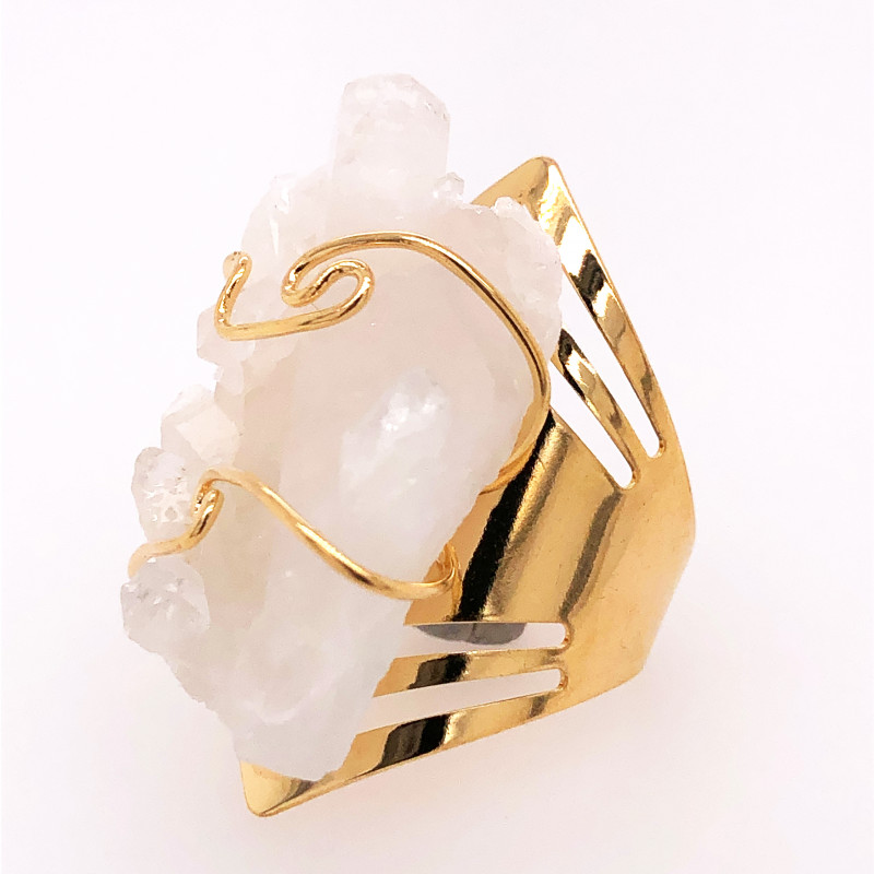 Wire wrapped Crystal Terminated Point Golden Ring BR 500