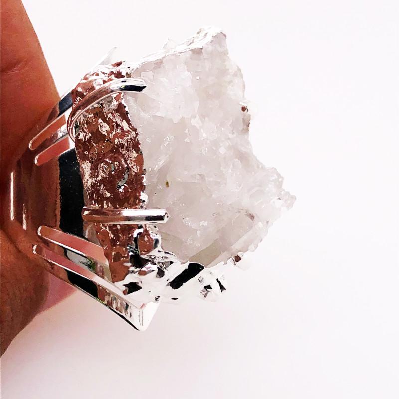 Crystal Raw High Grade Druzy Silver Ring BR 508
