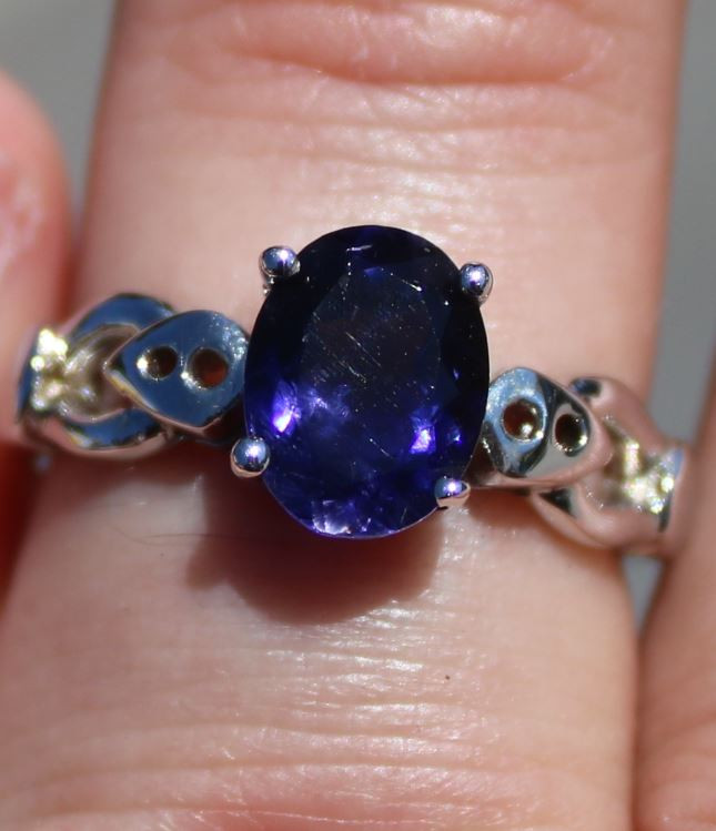 Iolite 1.79ct Solid 925 Sterling Silver Rhodium Finish Solitaire Ring