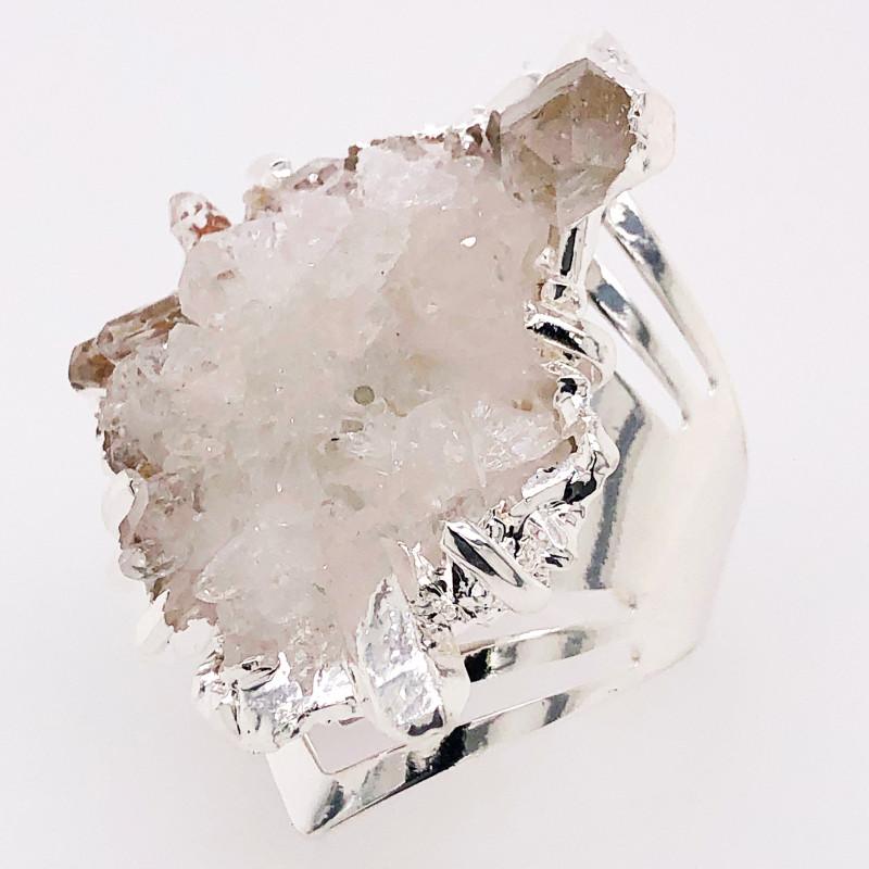 Crystal Raw High Grade Druzy Silver Ring BR 511
